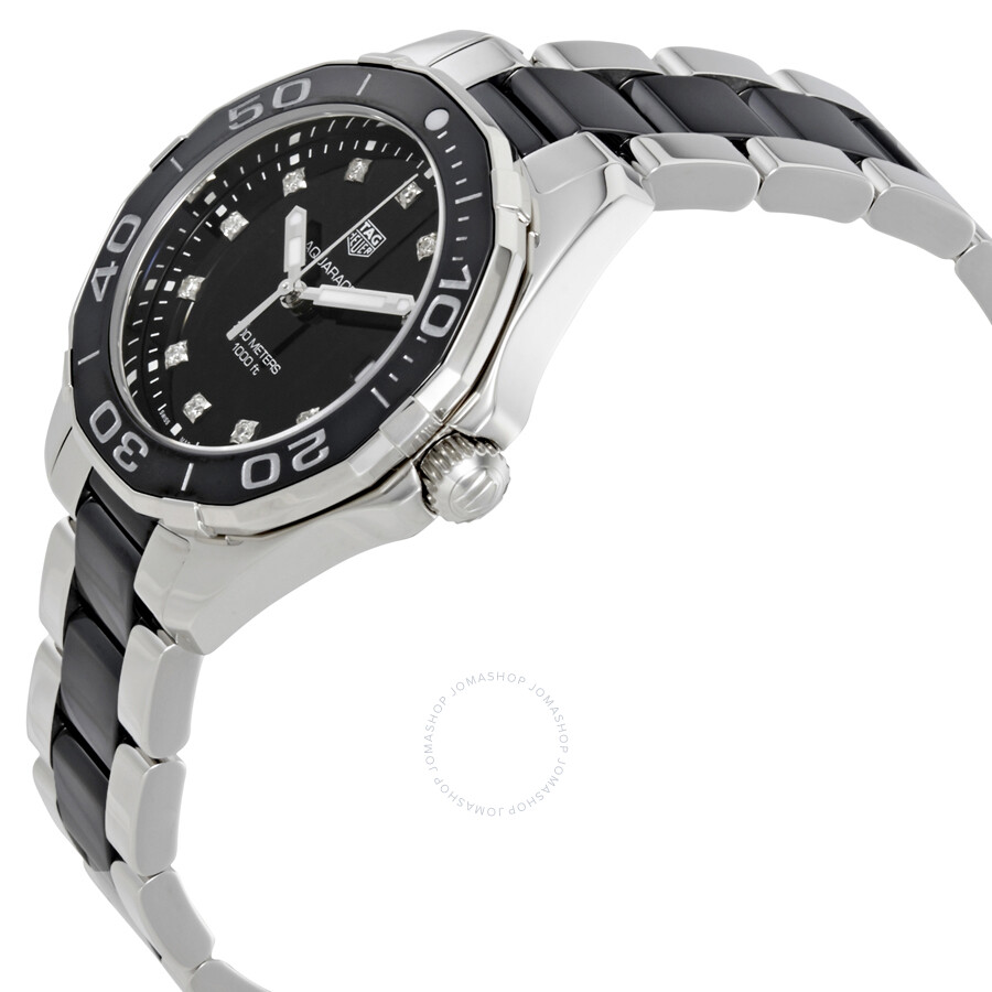 Tag heuer aquaracer black dial diamond ladies watch way131c ba0913 aquaracer tag heuer for Tag heuer c flex