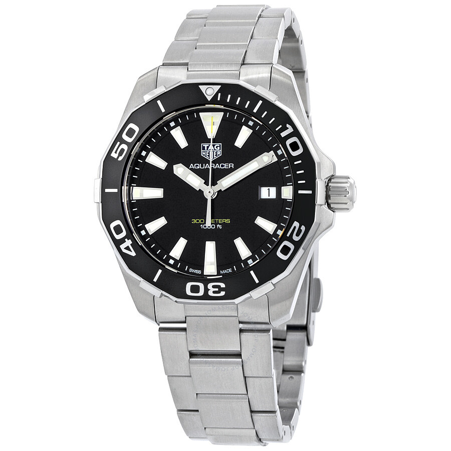 tag heuer aquaracer black dial quartz men 39 s watch way111a ba0928 aluminum bezel aquaracer