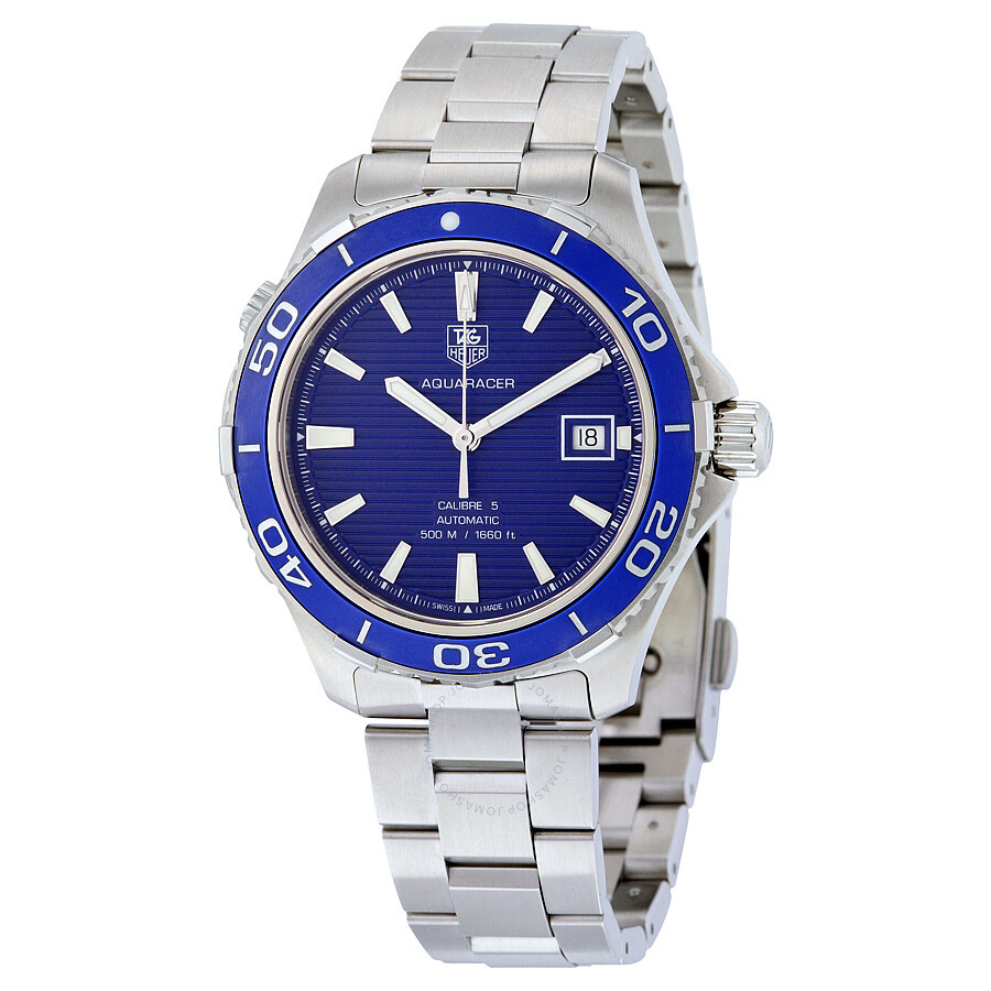 Tag heuer aquaracer calibre 5 blue dial stainless steel automatic men 39 s watch wak2111 ba0830 for Tag heuer aquaracer