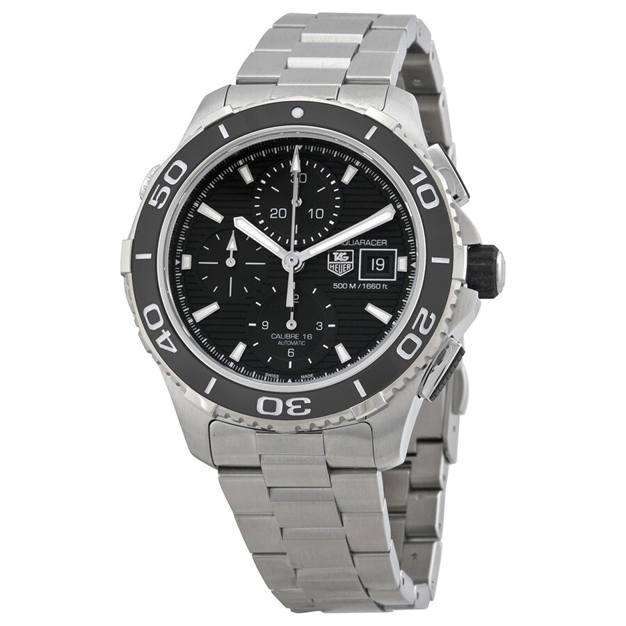 Tag heuer aquaracer black dial chronograph stainless steel automatic men 39 s watch cak2110ba0833 for Tag heuer chronograph