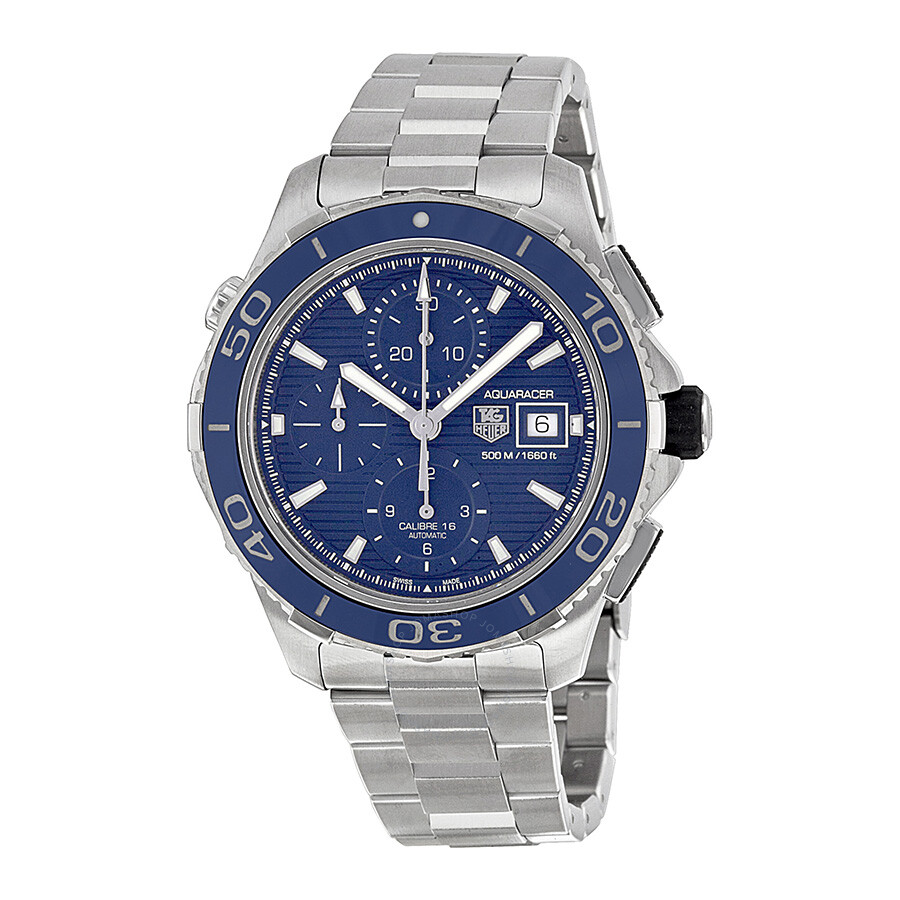 Tag heuer aquaracer chronograph blue dial stainless steel men 39 s watch cak2112ba0833 aquaracer for Tag heuer chronograph