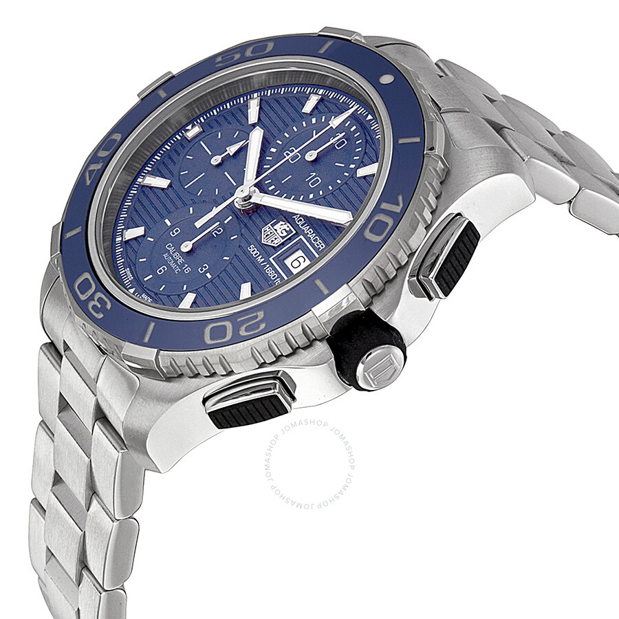 tag heuer aquaracer chronograph blue stainless steel