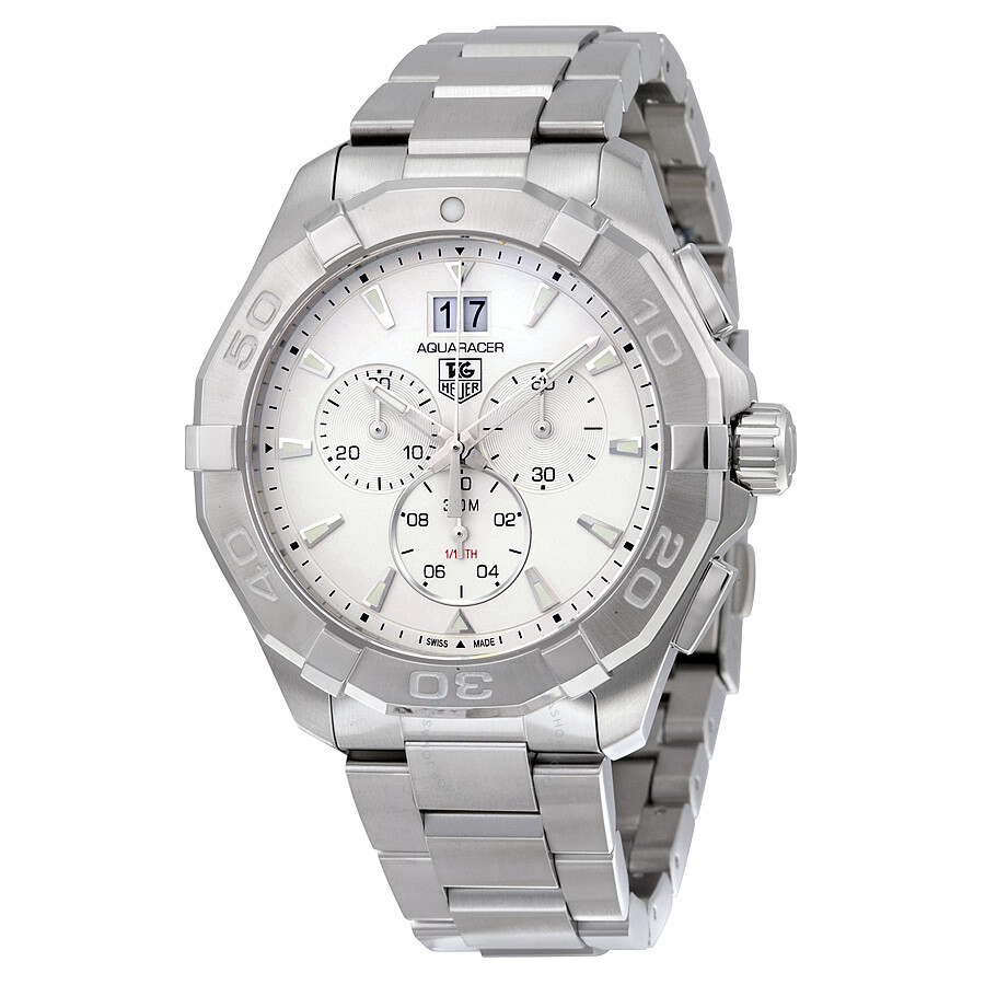 df6820d5476 Tag Heuer Aquaracer Chronograph Silver Dial Men's Watch CAY1111 ...