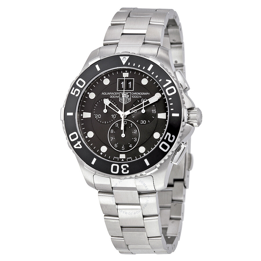Tag heuer aquaracer grande date black dial chronograph men 39 s watch can1010 ba0821 aquaracer for Tag heuer chronograph