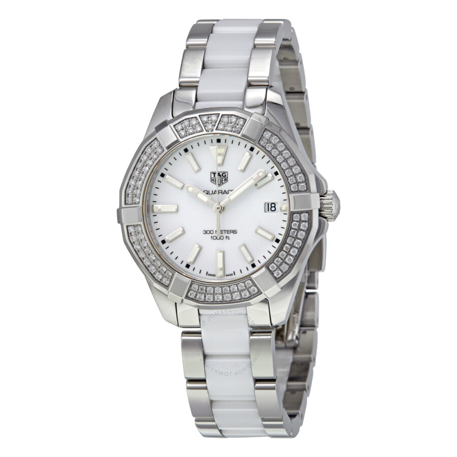 Tag heuer aquaracer white dial ladies watch way131f ba0914 aquaracer tag heuer watches for Tag heuer women