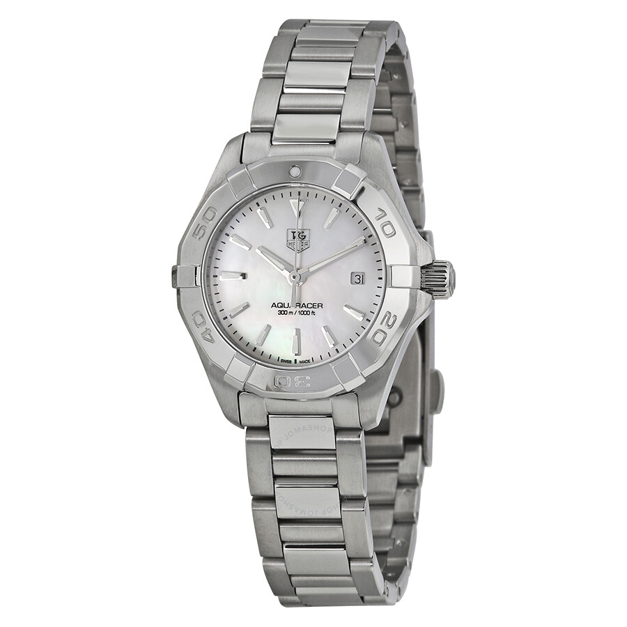 Tag heuer aquaracer mother of pearl dial ladies watch way1412 ba0920 aquaracer tag heuer for Tag heuer women
