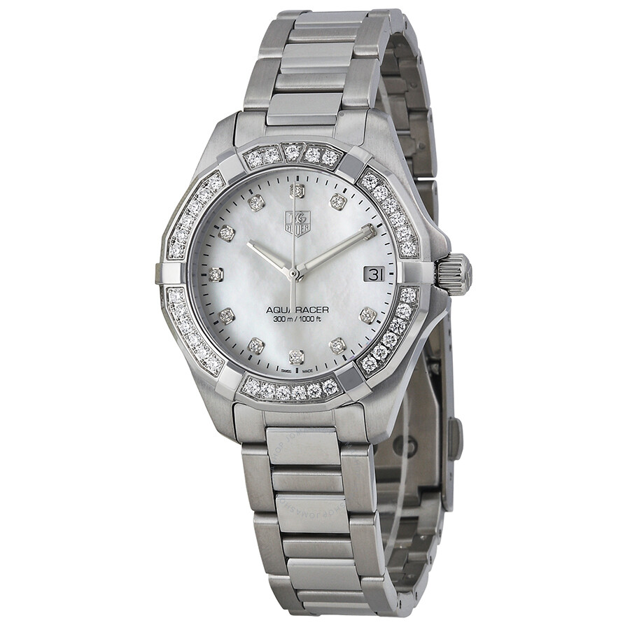 992970a49e94 Tag Heuer Aquaracer Mother of Pearl Diamond Dial Stainless Steel Ladies  Watch WAY1314.