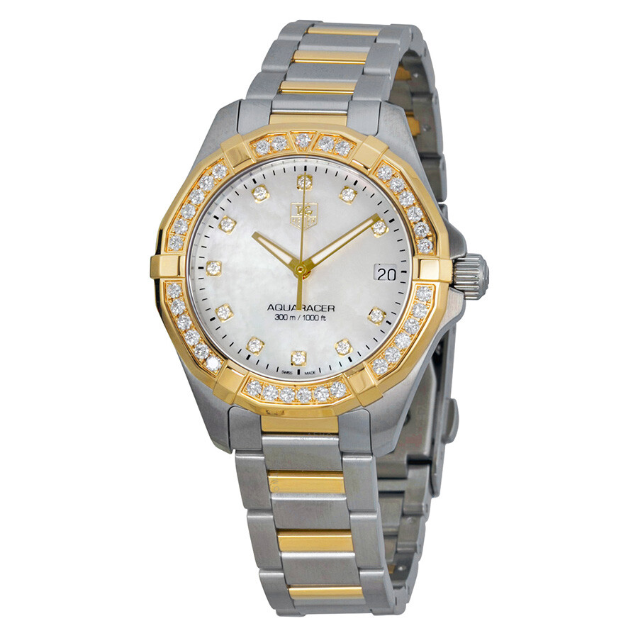 ffdbea23b193e Tag Heuer Aquaracer Mother of Pearl Stainless Steel and 18kt Yellow Gold  Ladies Watch WAY1353BD0917 Item No. WAY1353.BD0917