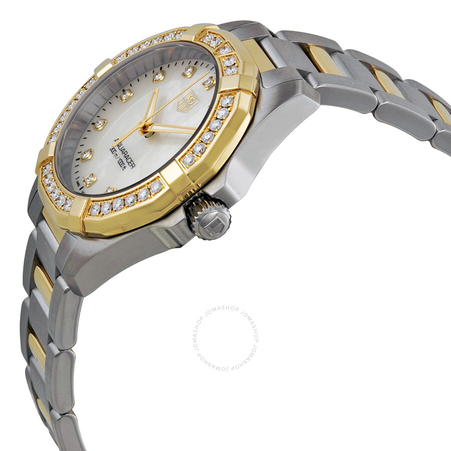 d2bdda0b7d2c5 ... Tag Heuer Aquaracer Mother of Pearl Stainless Steel and 18kt Yellow  Gold Ladies Watch WAY1353BD0917 ...