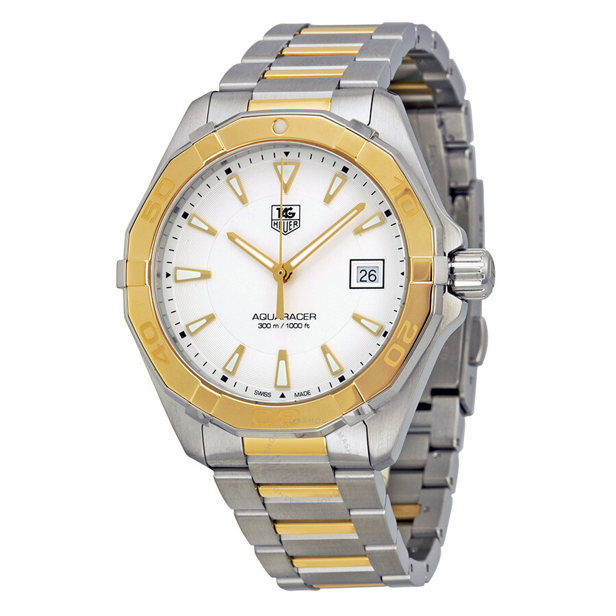tag heuer aquaracer silver stainless steel with 18kt