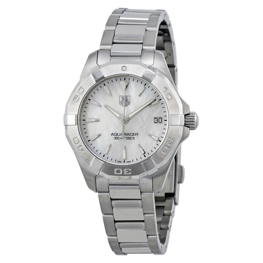 Tag heuer aquaracer mother of pearl dial ladies watch way1312 ba0915 aquaracer tag heuer for Pearl watches