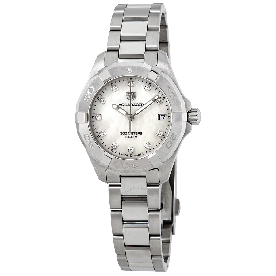 2ac4e3a97aae Tag Heuer Aquaracer White Mother of Pearl Diamond Dial Ladies Watch WBD1314.