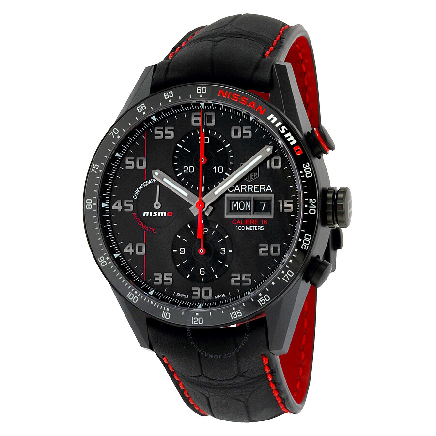 tag heuer calibre 16 automatic chronograph black dial