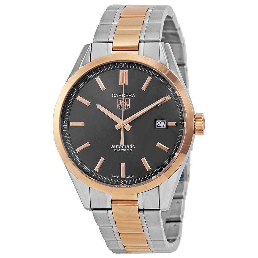 Tag heuer carrera anthracite dial steel and 18kt rose gold men 39 s watch wv215f bd0735 carrera for Watches rose gold