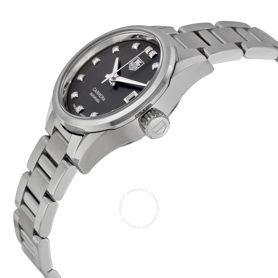 Tag heuer carrera automatic black dial stainless steel ladies watch war2413 ba0776 carrera for Tag heuer automatic
