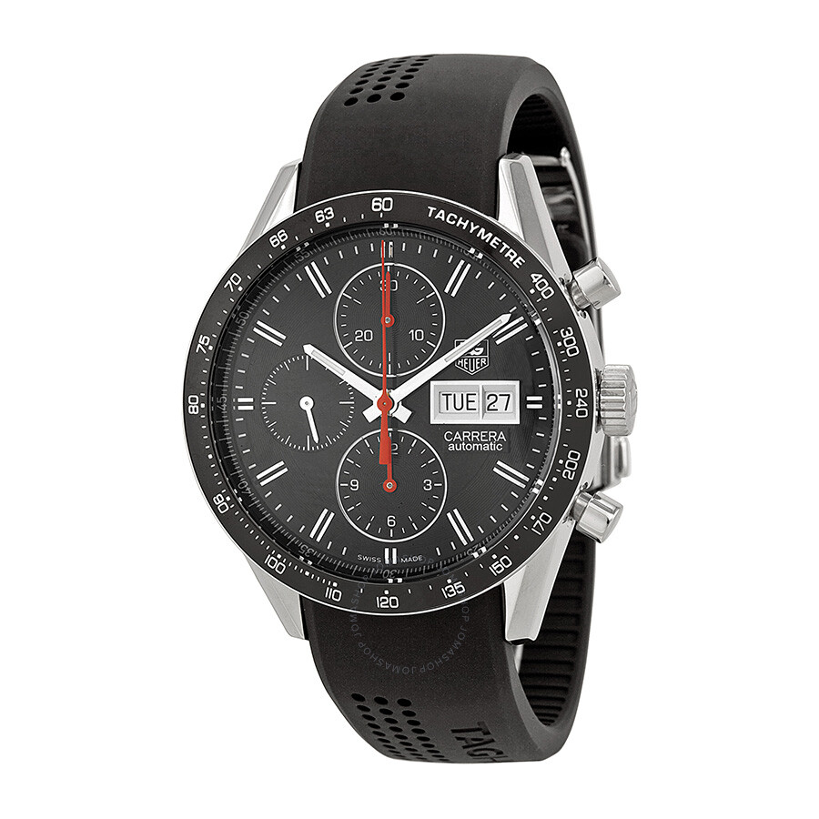 Tag heuer carrera automatic chronograph black dial black rubber men 39 s watch cv201ahft6014 for Tag heuer chronograph