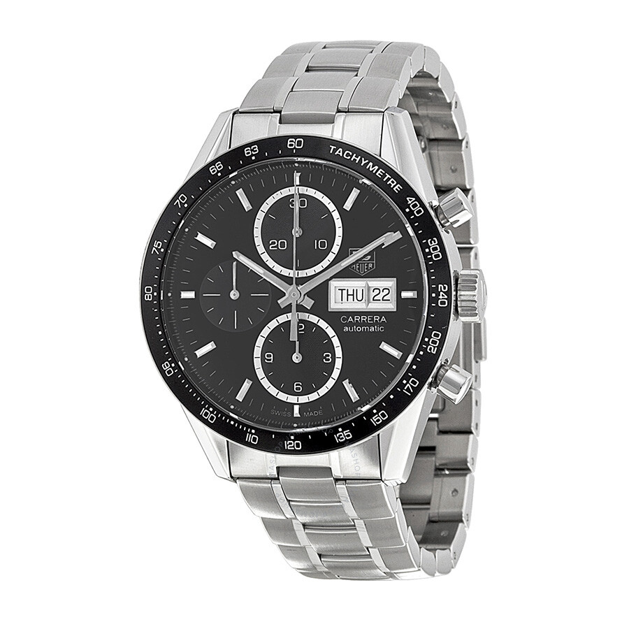 Tag heuer carrera automatic chronograph black dial stainless steel men 39 s watch cv201agba0725 for Tag heuer automatic