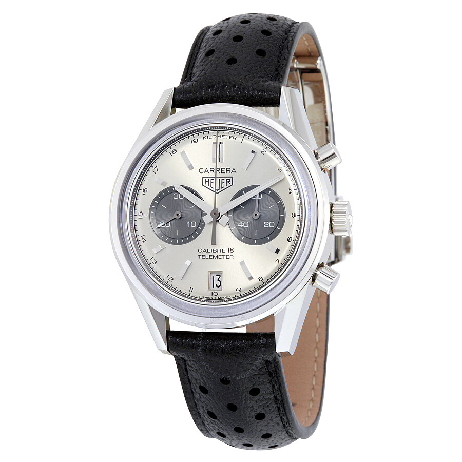 Tag heuer carrera automatic chronograph silver sunray dial men 39 s watch car221a fc6353 carrera for Tag heuer automatic