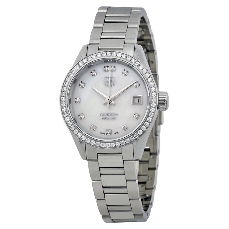 Tag heuer carrera automatic mother of pearl diamond dial stainless steel ladies watch war2415 for Tag heuer women