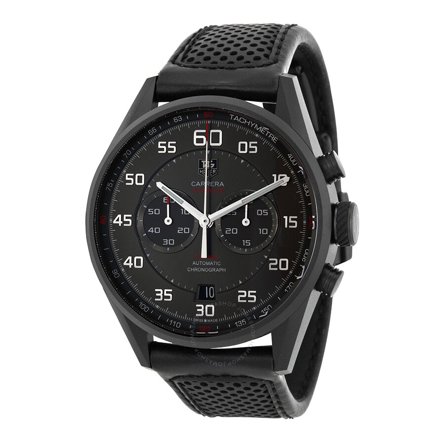 1b6458c2c0d6c Tag Heuer Carrera Black Dial Black Leather Men s Watch CAR2B80 ...