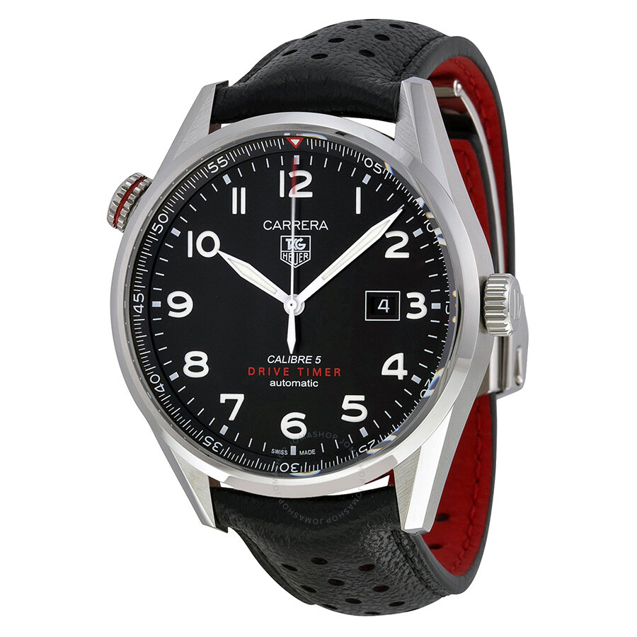 tag heuer carrera black dial black leather men 39 s watch war2a10fc6337 carrera tag heuer. Black Bedroom Furniture Sets. Home Design Ideas