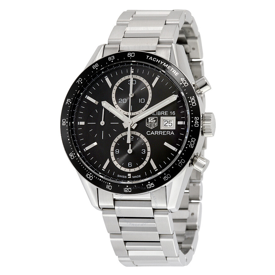 tag heuer carrera black dial chronograph stainless steel automatic men 39 s watch cv201aj ba0727. Black Bedroom Furniture Sets. Home Design Ideas