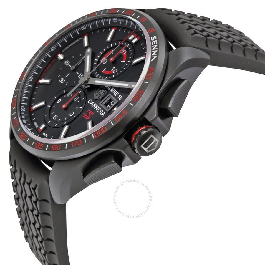 69fbf44ba89d8 FT6042 Tag Heuer Carrera Calibre 16 Black Dial Black Rubber Men s Watch  CBB2080.