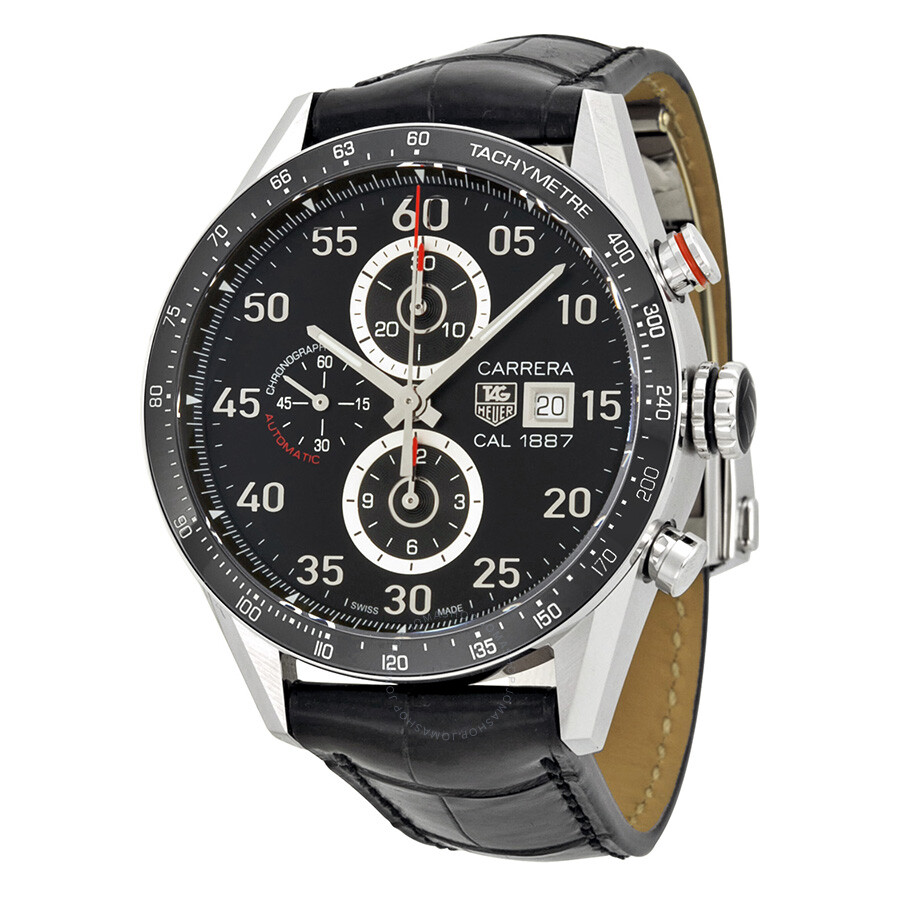 tag heuer carrera calibre 1887 automatic chronograph black dial stainless steel men 39 s watch. Black Bedroom Furniture Sets. Home Design Ideas