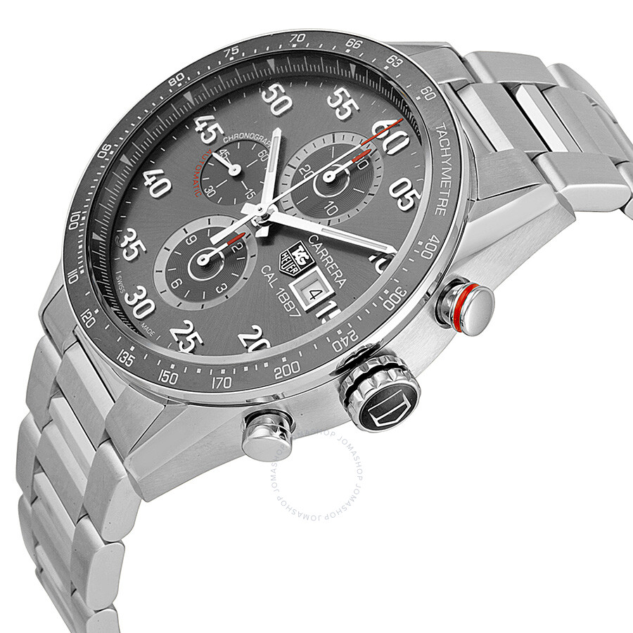 Tag heuer carrera calibre 1887 automatic chronograph grey dial stainless steel men 39 s watch for Tag heuer chronograph