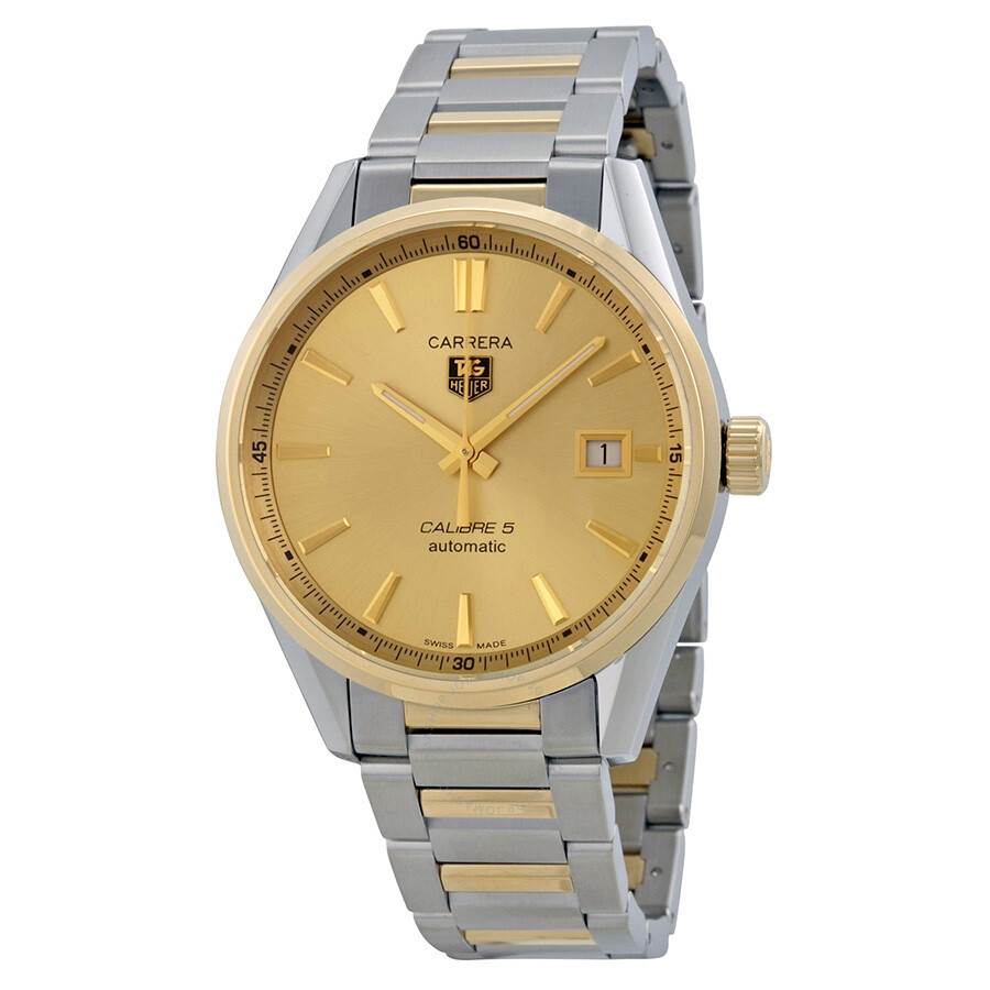 e250420b245a Tag Heuer Carrera Calibre 5 Gold Dial Stainless Steel Yellow Gold Men s  Watch WAR215ABD0783 ...