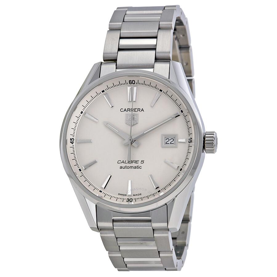 Tag heuer carrera calibre 5 silver dial men 39 s watch war211b ba0782 carrera tag heuer for Tag heuer carrera
