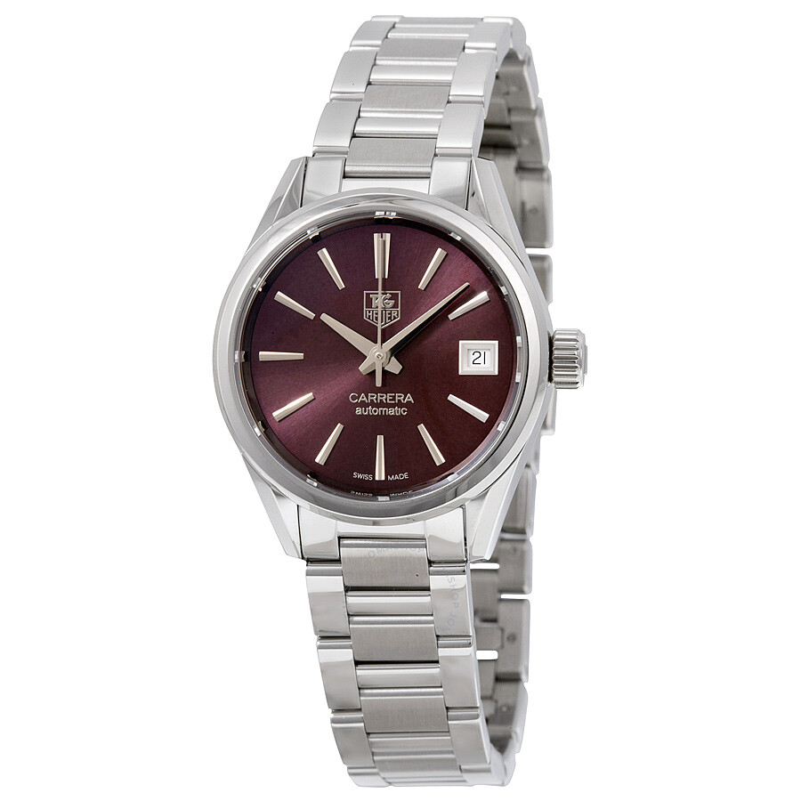 Tag Heuer Carrera Calibre 9 Burgundy Dial Stainless Steel Automatic Ladies  Watch WAR2417. 7ac161c56