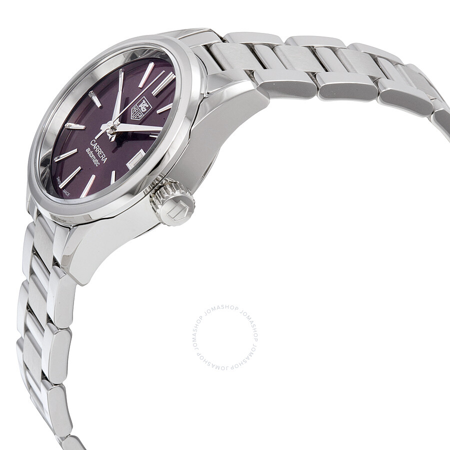 Tag Heuer Carrera Calibre 9 Burgundy Dial Stainless Steel Automatic Ladies Watch War2417 Ba0776