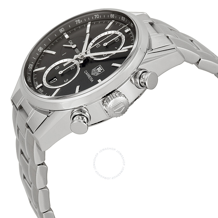 Tag heuer carrera chronograph automatic black dial stainless steel men 39 s watch car2110 ba0724 for Tag heuer chronograph