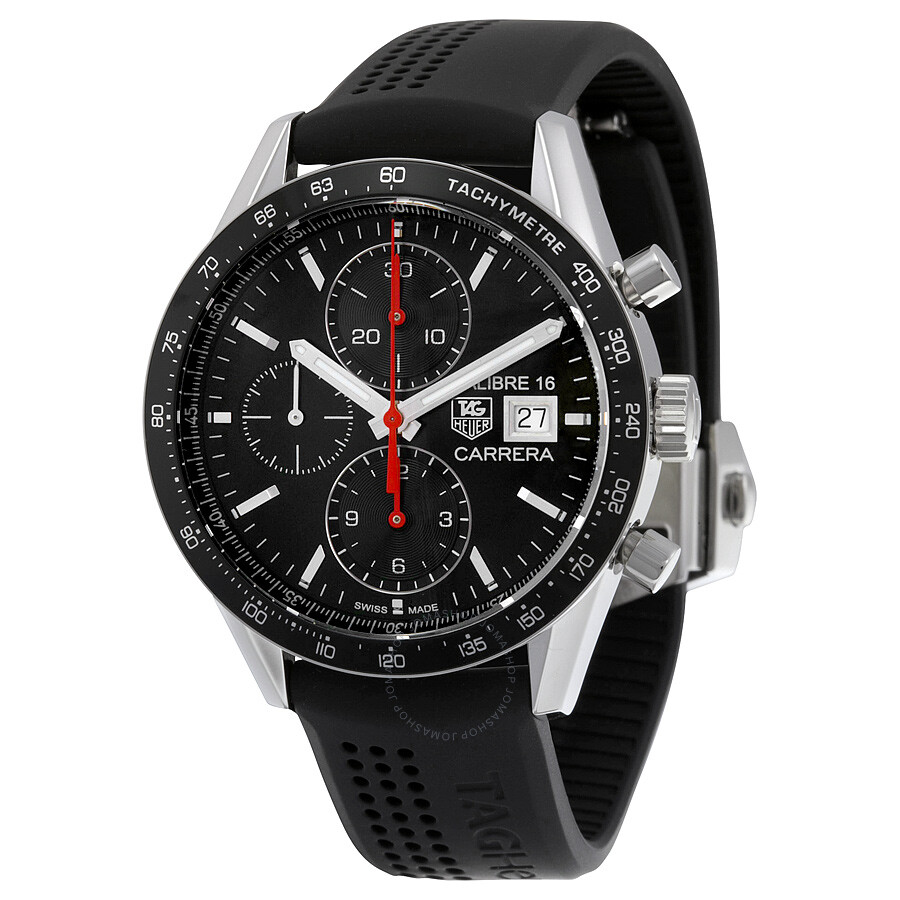 tag heuer carrera chronograph automatic black dial black rubber men 39 s watch cv201ak ft6040. Black Bedroom Furniture Sets. Home Design Ideas