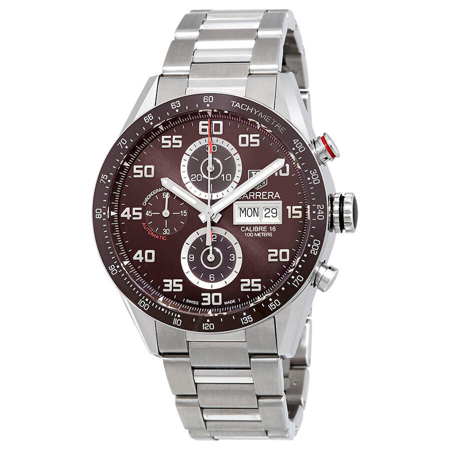 Tag heuer carrera chronograph brown dial automatic men 39 s watch cv2a1s ba0799 carrera tag for Tag heuer carrera