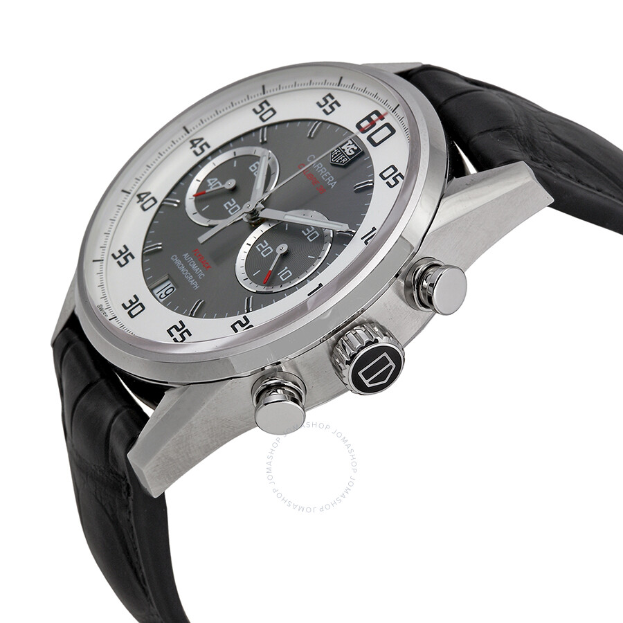 Tag heuer carrera chronograph silver and grey dial black leather men 39 s watch car2b11fc6235 for Tag heuer chronograph