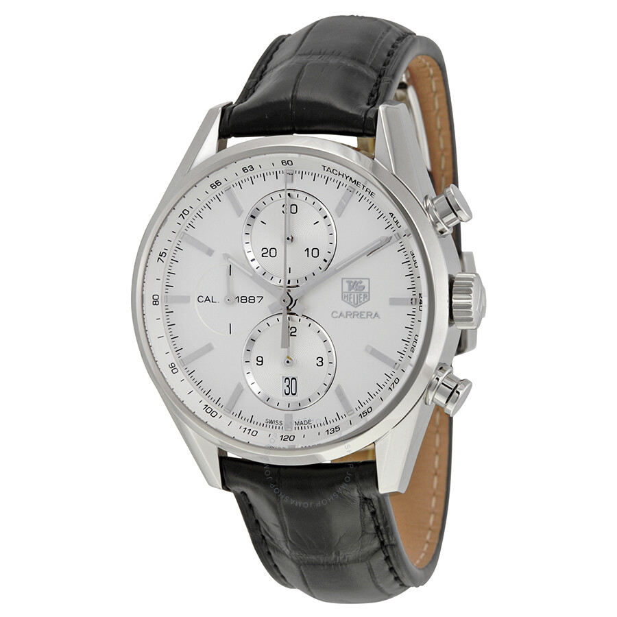 Tag heuer carrera chronograph silver dial automatic leather men 39 s watch car2111 fc6266 carrera for Tag heuer chronograph