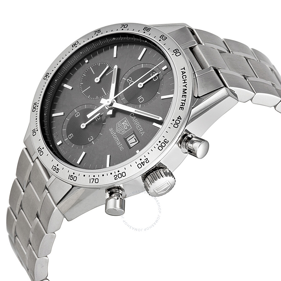 tag heuer carrera chronograph slate grey dial steel men u0026 39 s