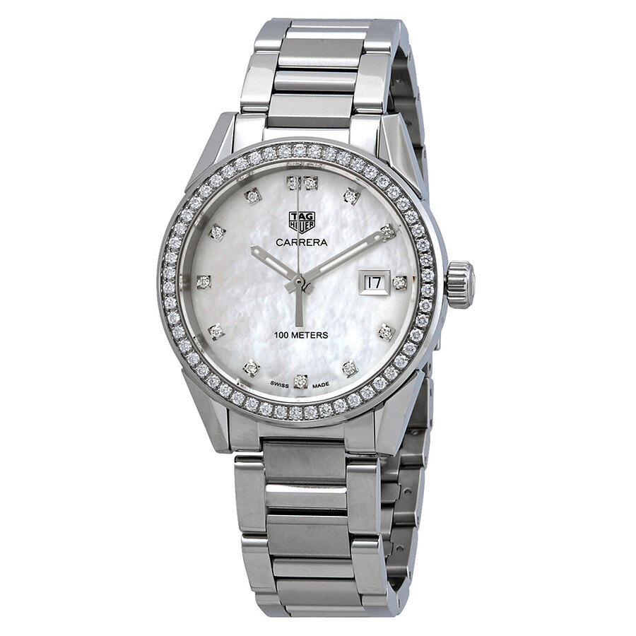 e39d845727ece Tag Heuer Carrera Diamond Ladies Mother of Pearl Dial Watch WBG1315 ...
