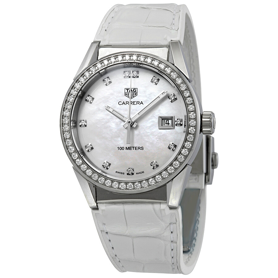 bc0ff5a8e599e Tag Heuer Carrera Diamond Mother of Pearl Dial Ladies Watch WBG1315 ...