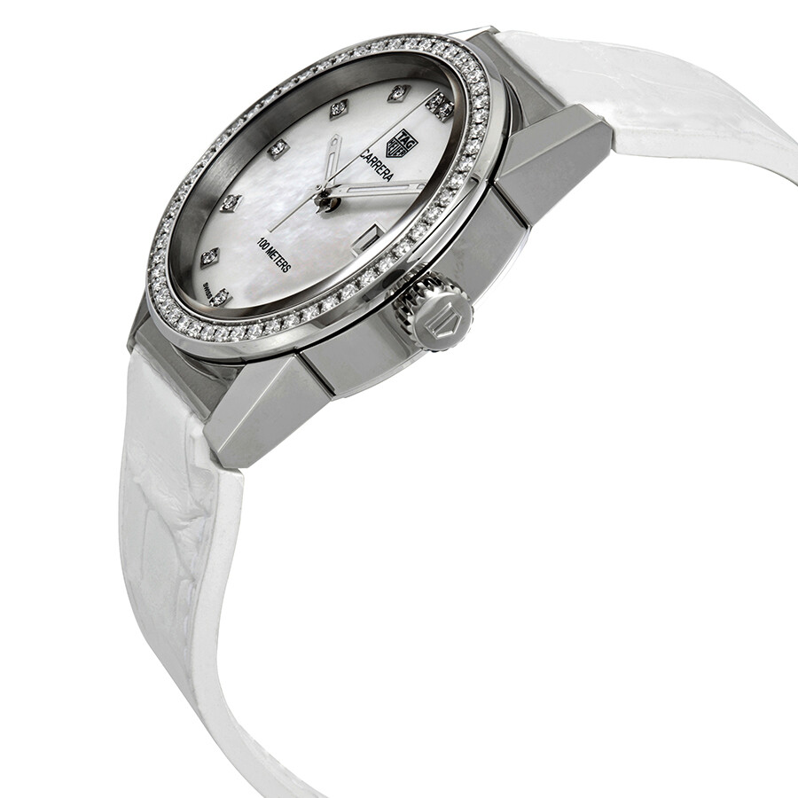 Tag heuer carrera diamond mother of pearl dial ladies watch wbg1315 fc6412 carrera tag heuer for Mother of pearl dial watch