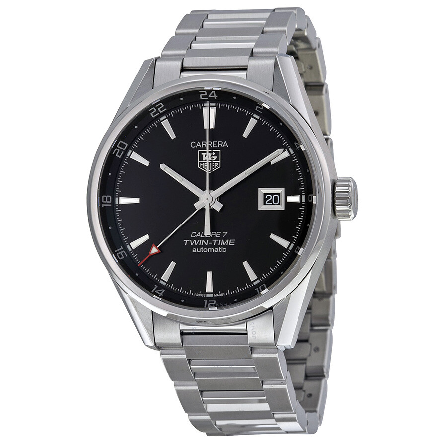 Tag heuer carrera dual time black dial men 39 s watch war2010ba0723 carrera tag heuer watches for Tag heuer carrera