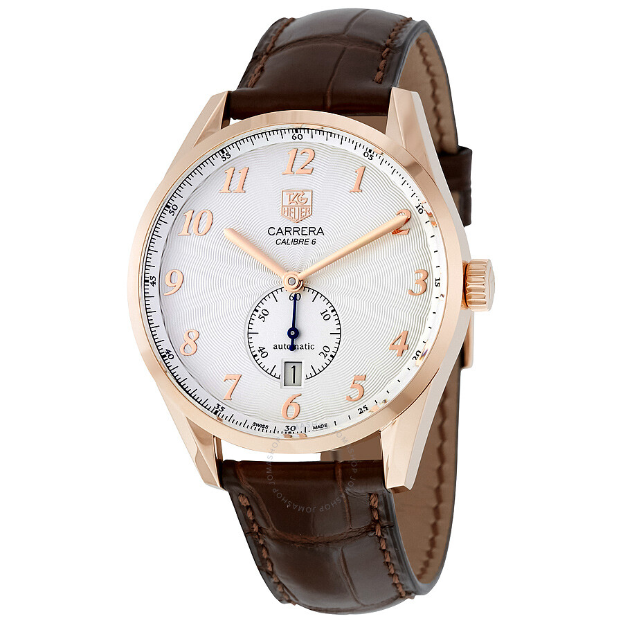 a4be3708fcb Tag Heuer Carrera Heritage Silver Dial Brown Leather Automatic Men s Watch  WAS2140.FC8176