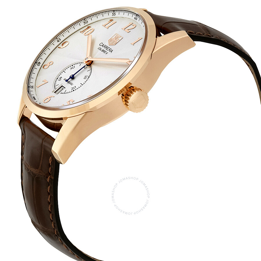 d3ccb8225f9 FC8176 Tag Heuer Carrera Heritage Silver Dial Brown Leather Automatic Men's  Watch WAS2140.