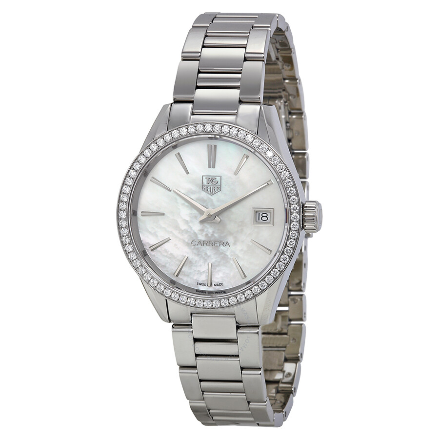 ba3431f13a69 Tag Heuer Carrera Mother of Pearl Dial Diamond Ladies Watch WAR1315 ...