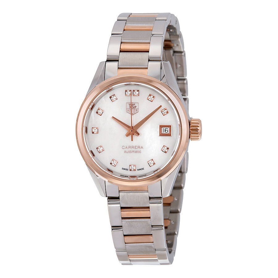 Tag Heuer Carrera Mother Of Pearl Diamond Steel And 18kt Rose Gold Ladies Watch War2452 Bd0777