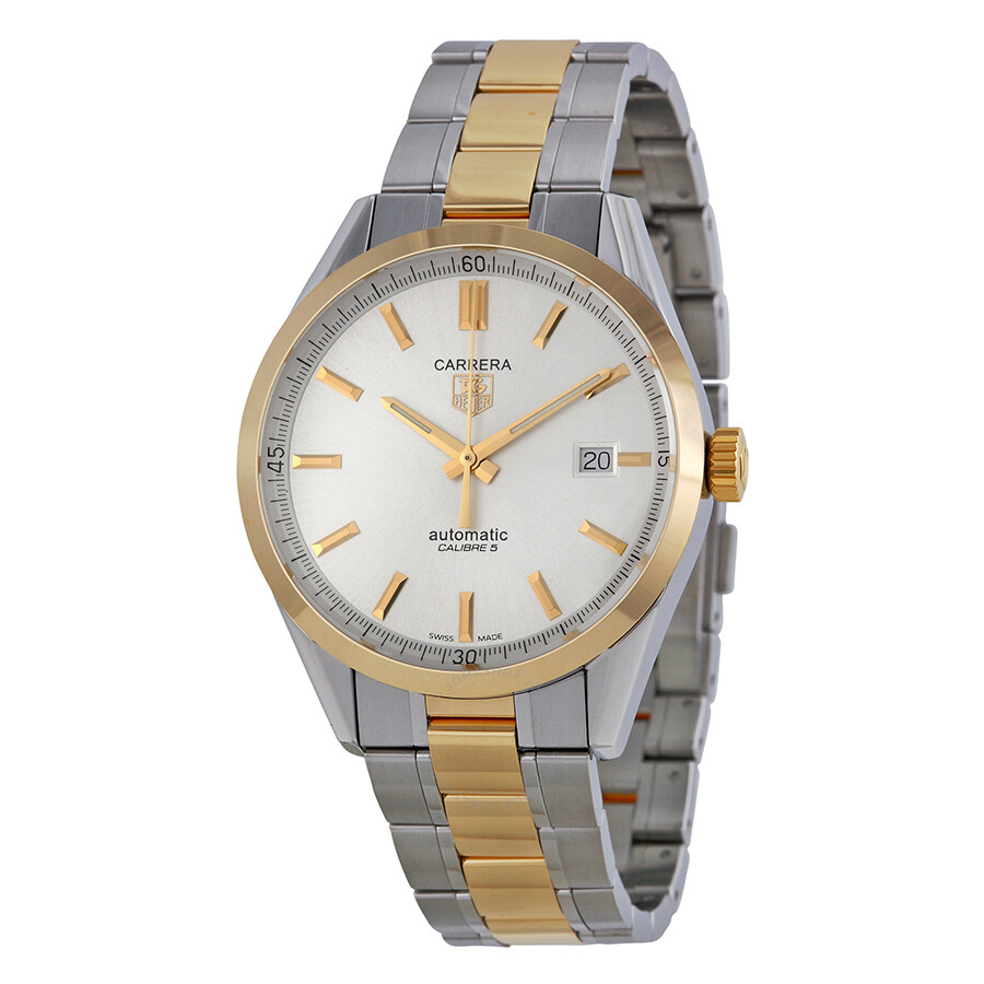 f8cee57a4546 Tag Heuer Carrera Silver Dial 18kt Yellow Gold and Stainless Steel Men s  Watch WV215D.