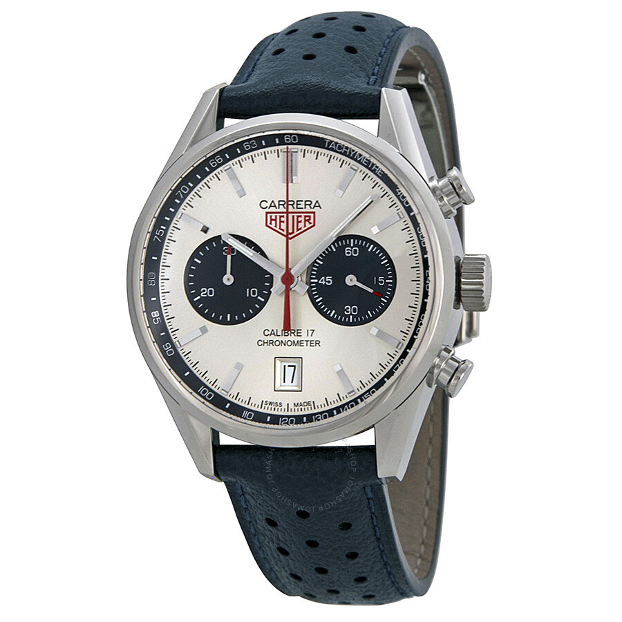 Tag heuer carrera silver dial chronograph blue leather men 39 s watch cv5111fc6335 carrera tag for Tag heuer chronograph