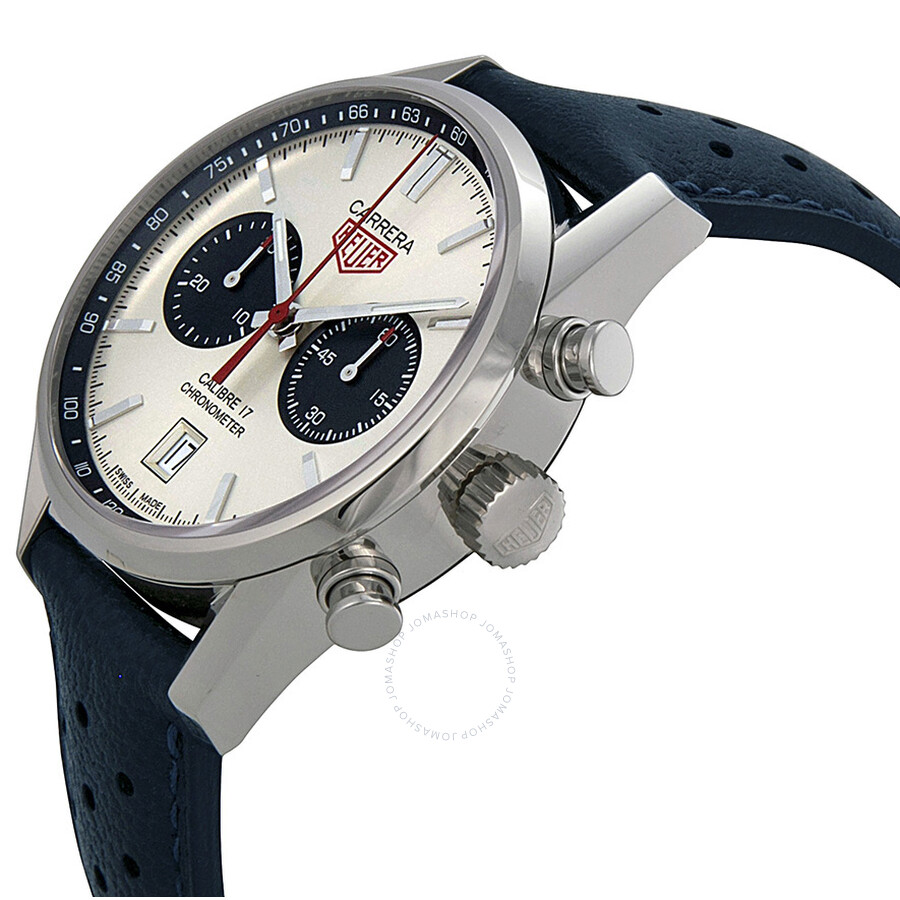 tag heuer carrera silver dial chronograph blue leather men